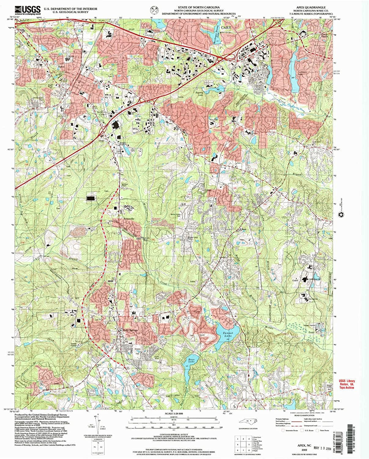 Apex NC topo map, 1 24000 Scale, 7.5 X 7.5 Minute, Historical, 2002, Updated 2004, 27 x 22 in