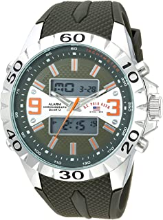 U.S. Polo Assn. Mens Quartz Watch, Analog-Digital Display and Rubber Strap US9628