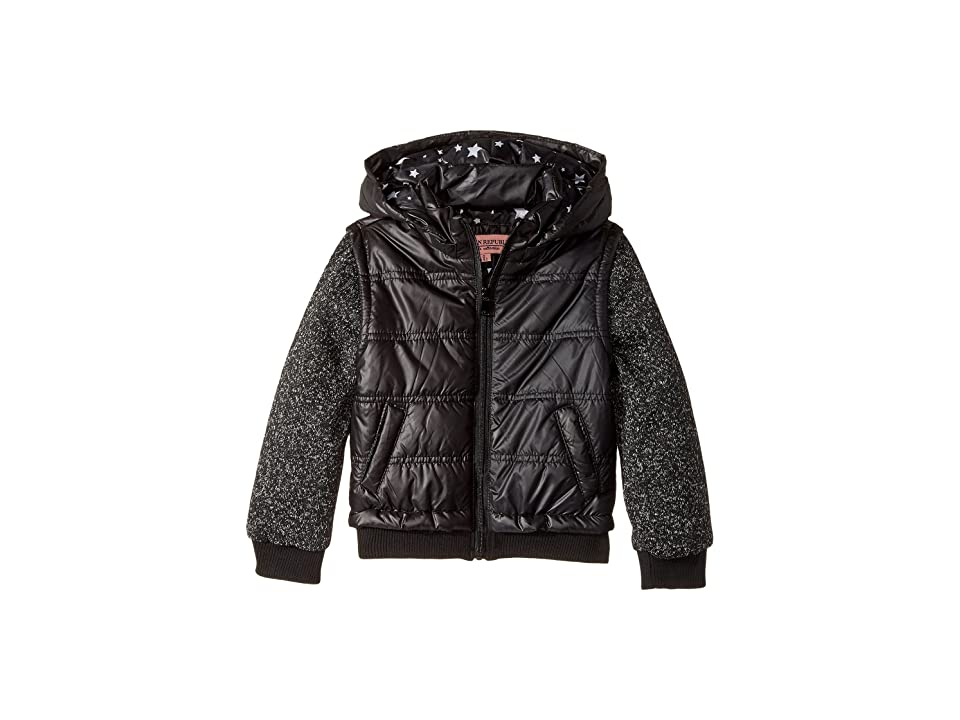 Urban Republic Kids Puffer Jacket with Melange Sleeves (Little Kids/Big Kids) (Black) Girl