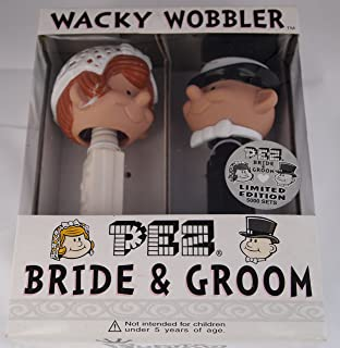 Limited Edition Wacky Wobbler Bride and Groom Pez Dispenser Bobbleheads