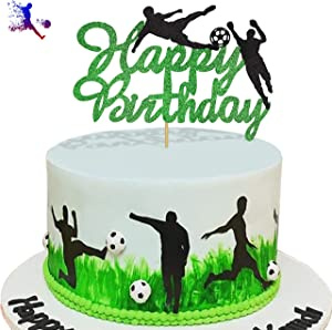 KAPOKKU Glitter Play Soccer Cake Topper Football Sport Themed Party Decorations Birthday Party Supplies(play soccer cake topper)