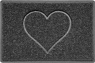 Nicoman Heart Embossed Shape Door Mat Dirt-Trapper Washable Barrier Doormat-Dark Grey (Watertight Rubber-Back)-Small (60x4...