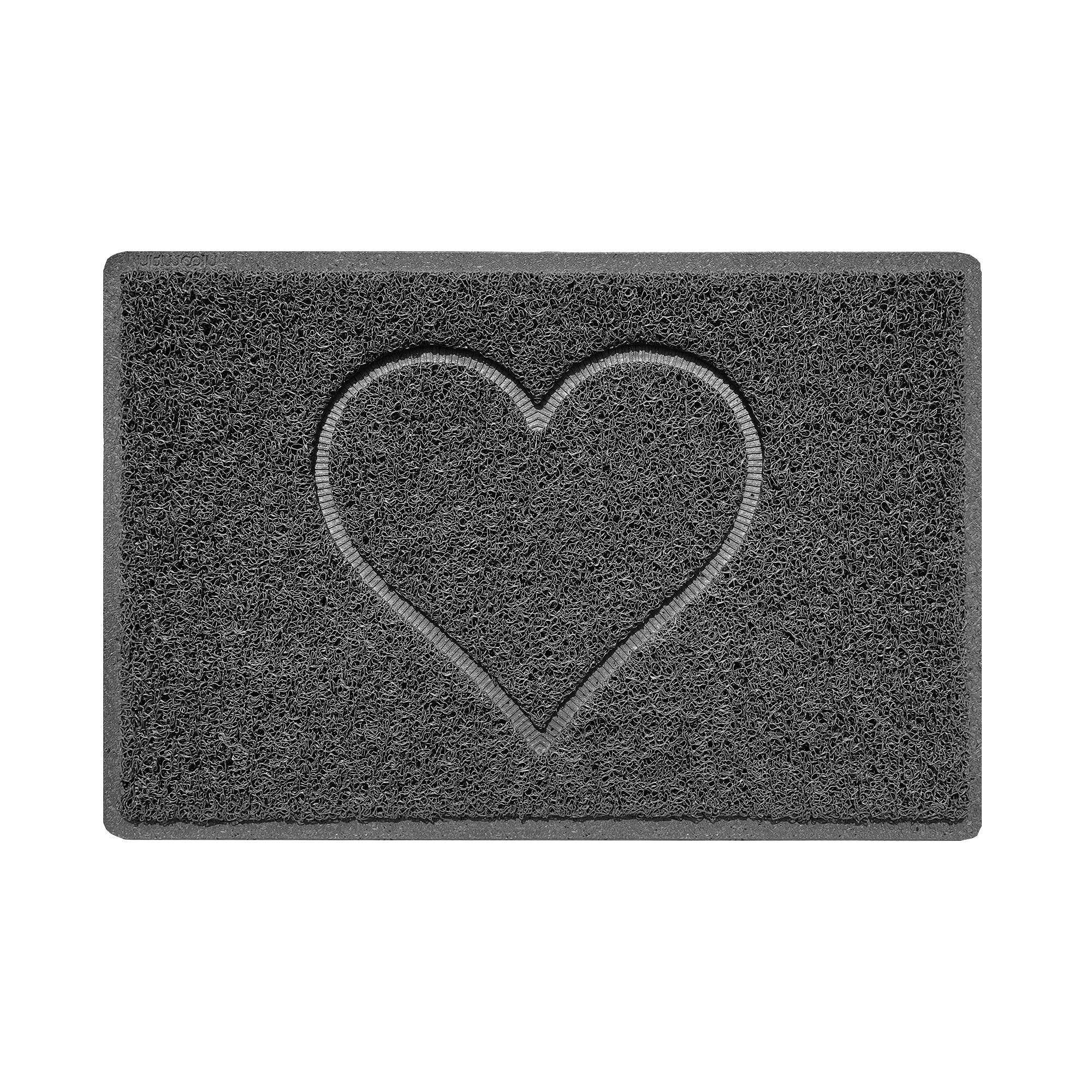 Nicoman Heart Embossed Shape Door Mat Dirt-Trapper Washable Barrier Doormat-Dark Grey (Watertight Rubber-Back)-Small (60x40cm)