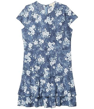 MICHAEL Michael Kors Plus Size Bleached Out Floral Double Tier Dress (Chambray) Women