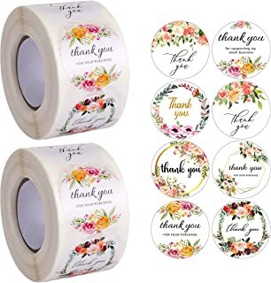 Avamie 1000PCS Foral Thank You Stickers Rolls, 1.5 ich Thank You for Supporting My Small Business Stickers, 8 Unique Desig...
