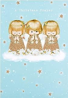 Hallmark Three Gold Glitter Angels Christmas Prayer on a Cloud Xmas Card - Medium