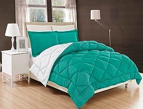 Elegant Comfort All Season Comforter and Year Round Medium Weight Super Soft Down Alternative Reversible 2-Piece Comforter Set, Twin/Twin XL, Turquoise/White