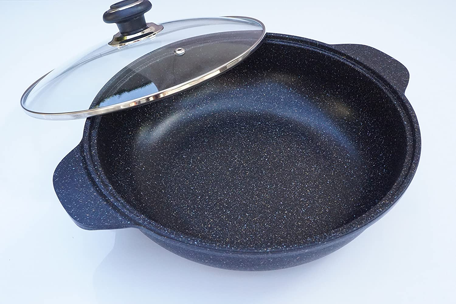 Home N Kitchenware Collection 12.5  Inch (32cm) Ceramic Marble Jumbo Wok, 5-Layer Marble Coating, Extreme Non-Stick, Heavy Gauge, Marble Coated Cast Aluminum