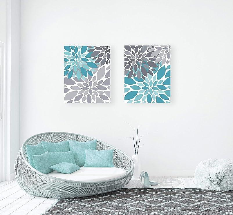 Canvas Art Turquoise & Gray Flower Burst Wall Art Abstract Botanical Set of 2 Home Decor Nursery Art, Bathroom Art Aqua Teal sfopkakr325619
