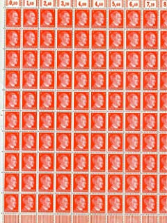 FULL AND COMPLETE GERMAN WWII HITLER HEAD STAMP SHEET OF 100 STAMPS 8 RPF VALUE. FULL GUM