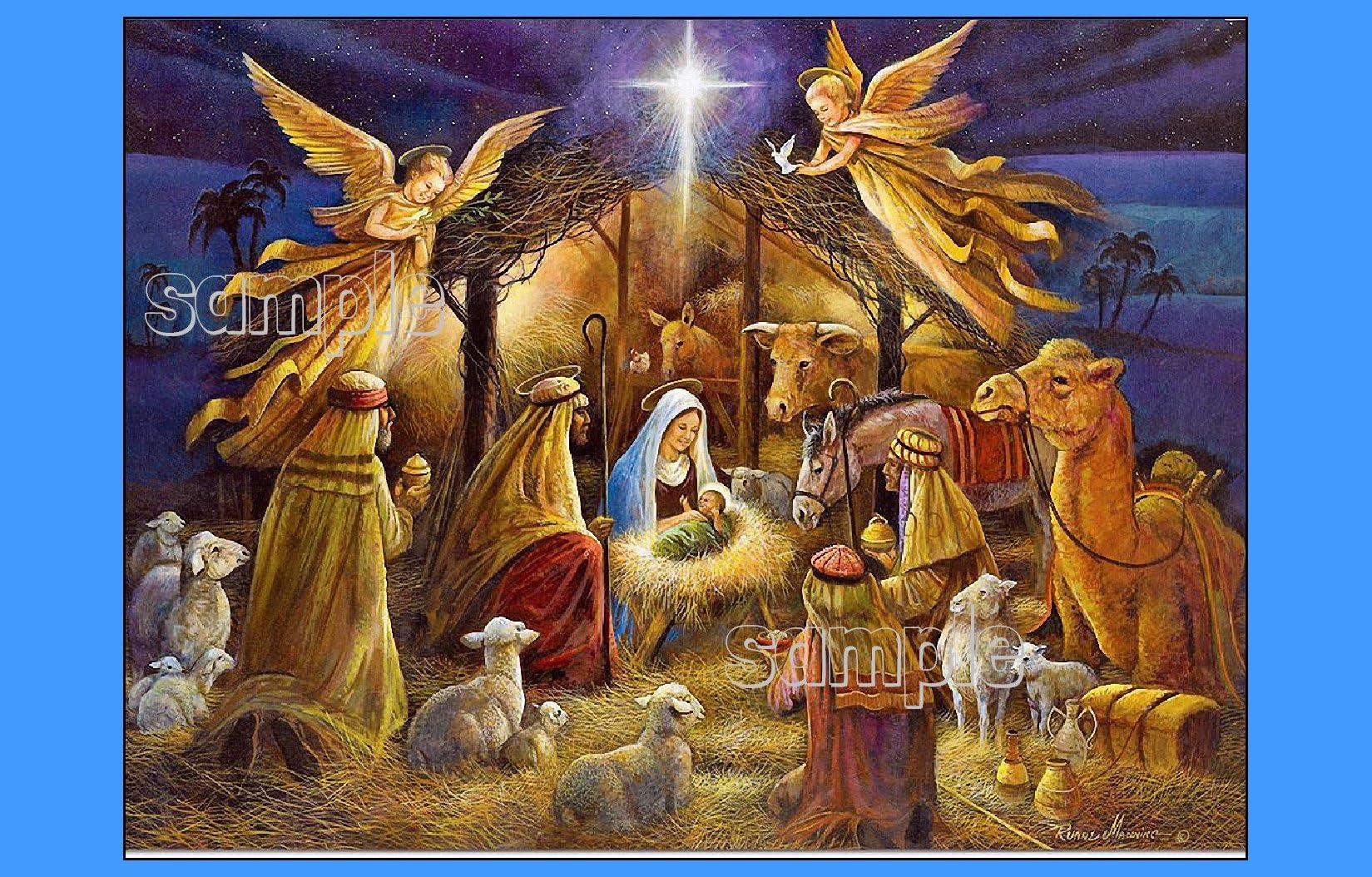 Christmas nativity star scene Cupcake Toppers \u239c happy birthday Jesus party birthday cake epiphany unique Mary Joseph 3 wise men SET OF 12