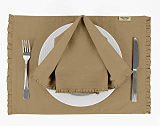 Vargottam Beige Solid Home Décor Washable Frill Placemats & Napkins Table Decor Dining Mats-Pack of 6