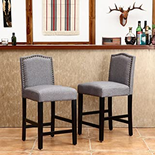 LSSBOUGHT Set of 2 Classic Fabric Barstools Dining High Counter Height Side Chairs (Seat Height: 24 inches, Gray)