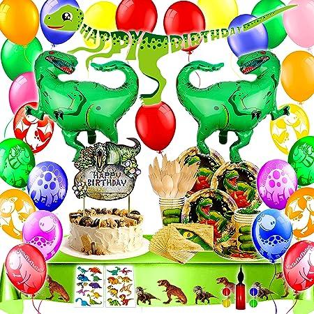 Bea's Party Decorazioni Dinosauri Compleanno addobbi Party Dinosauri Festone Buon Compleanno Dinosauri Palloncini Piatti Dinosauri Compleanno Giardino stoviglie biodegradabili