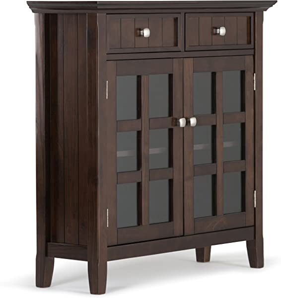 Simpli Home AXWELL3 013 Acadian Solid Wood 36 Inch Wide Rustic Entryway Hallway Storage Cabinet In Tobacco Brown