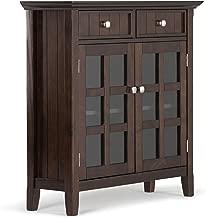 Simpli Home AXWELL3-013 Acadian Solid Wood 36 inch Wide Rustic Entryway Hallway Storage Cabinet in Tobacco Brown