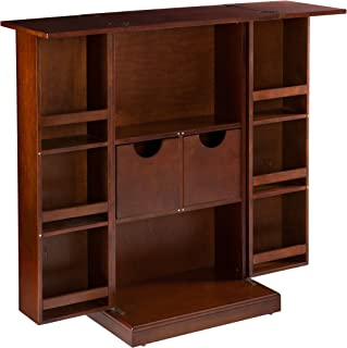 Southern Enterprise Fold Away Bar Cabinet - Compartment Shelves w/Drawers - Black Finish