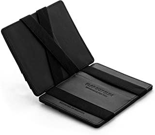 Jaimie Jacobs Magic Wallet Flap Boy Slim RFID Blocking for Men Genuine Leather (Black with Black Elastic)