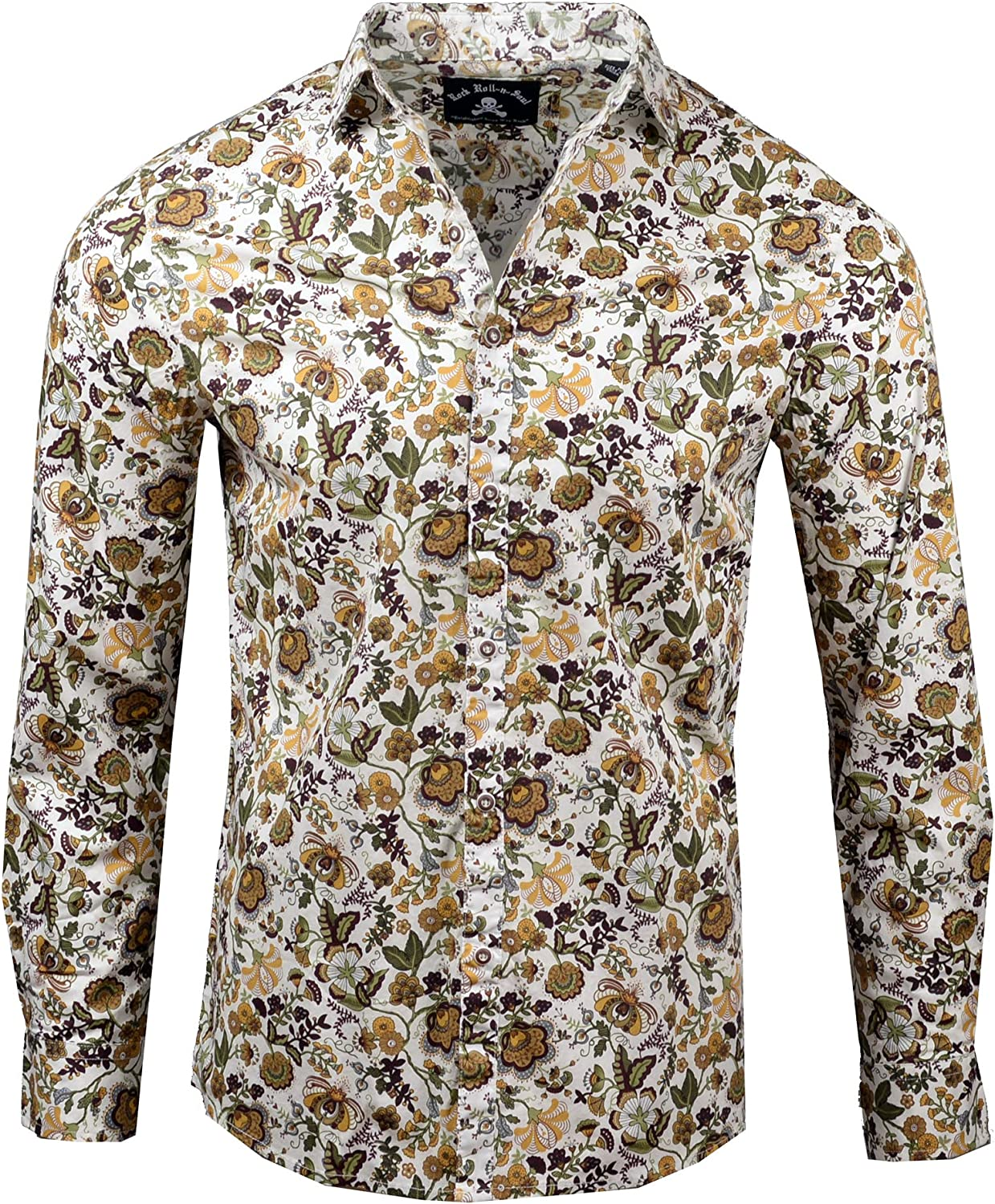 Rock Roll n Soul Men's Fashion Our Vines are Divine Floral Long Sleeve Button-Up Shirt