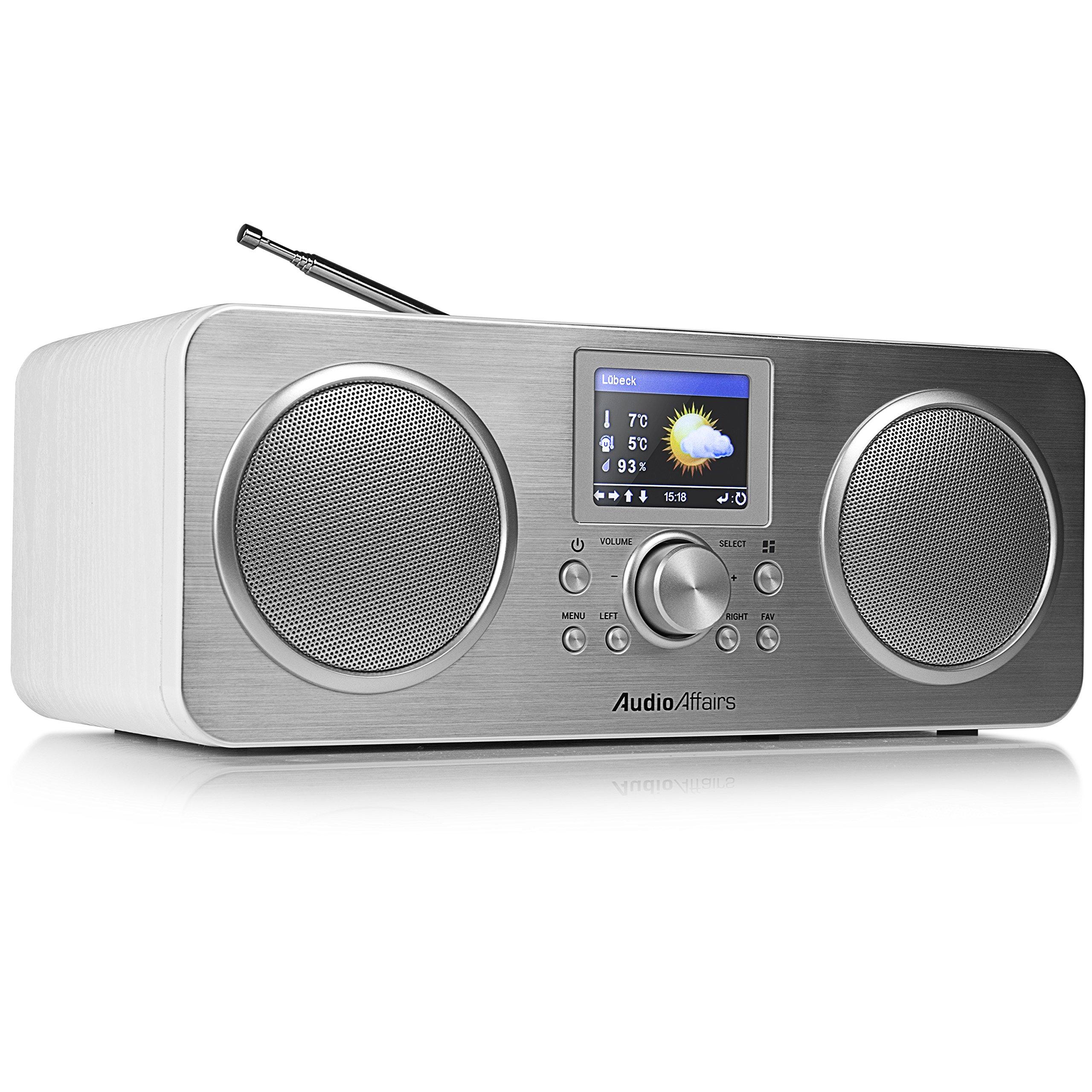 AudioAffairs Portables Internetradio mit eingebautem Lithium-Ionen Akku und  Bluetooth  DAB, Digitalradio mit Wecker & Akku  WLAN Küchenradio