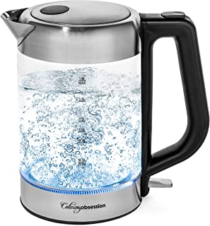 Glass Electric Kettle | BPA Free with Borosilicate Glass & Stainless Steel - 1.8 Liter Rapid Boil Cordless Teapot with Automatic Shut Off - the Best Hot Water Heater for Tea, Coffee, Soup, and More! (Renewed)