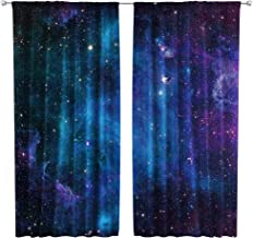 Riyidecor Outer Space Curtains Rod Pocket Galaxy Universe Blue Black Psychedelic Planet Nebula Starry Sky Living Room Bedroom Window Drapes Treatment Fabric (2 Panels 52 x 63 Inch)