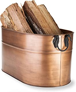 Plow & Hearth Galvanized Steel Firewood Bucket with Wrought Iron Handles 2, 1.75