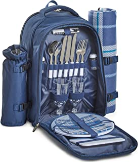 VonShef 2 Person Outdoor Picnic Backpack Bag Set with Picnic Blanket – Includes Insulated Cooler Compartment, Detachable Bottle Wine Holder, Flatware and Plates – Navy Tartan