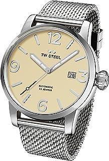 TW Steel Men's Maverick Quartz Watch with Stainless-Steel Strap, Silver, 22 (Model: MB6)