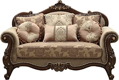 Amazon.com: Michael Amini Essex Manor Wood Trim Sofa, Deep ...