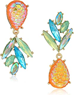 Women's Yellow and Gold Tone Perfect Non-Matching Pineapple Earrings