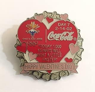 Rare Coca-Cola Bottle Cap Salt Lake City Winter Olympics Pin Day 7 Valentine's Day LE/1000