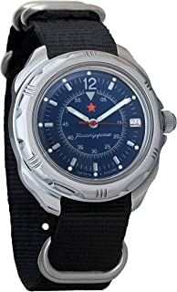 Vostok Komandirskie Dark-Blue Dial Army Mechanical Mens Military Commander Wrist Watch #211398