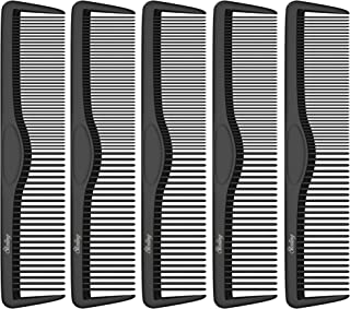 Small Pocket Combs | 5 Pack | Professional 5 Inch Black Carbon Fiber Hair Comb | Fine And Wide Tooth Travel Comb Set | Ant...