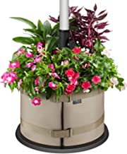 BaseMate The Original Rhino Patio Umbrella Base Weight Planter - - Premium Windproof Garden Planters Weight Secures Safety & Adds Beauty - Non-Woven Grow Bag Fabric Pot. [18 inch] (Beige)