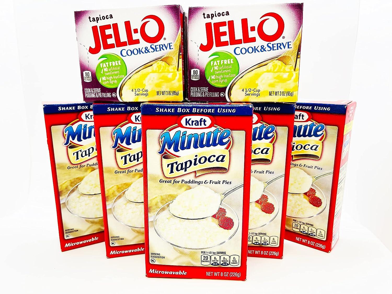Kraft Minute Tapioca 8oz (Pack of 5) Bonus Jello Cook Serve Pudd