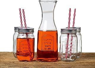 """Le Regalo HW1234 5 Piece Mason Set, 4 Jars 500ml, 1 Glass Decanter 1000ml, 10"""" Transparent"""