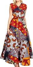 Sakkas Beyaz Women's Maxi Sleeveless Wrap Long Dress with Pockets V Neck African