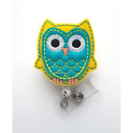 Retractable Badge Reel Work ID Holder Yellow and Gray Owl Badge Reel Felt Badge Reel Badge Reel