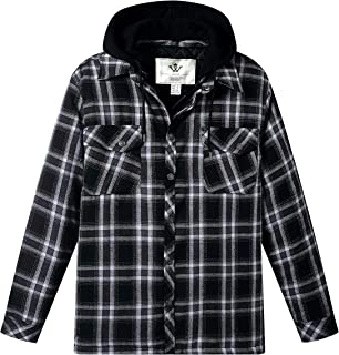 WenVen Men's Thicken Plaid Flannel Quilted Shirt Jacket with Hood