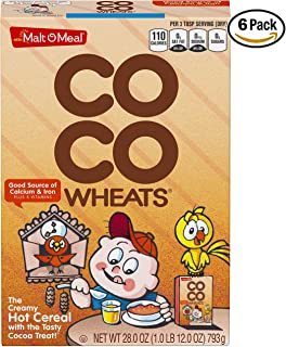 Malt-O-Meal Coco Wheats Hot Cereal, Chocolate Flavored, 28 Oz (Pack of 6)