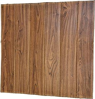 4 Pcs 3D Wall Sticker Panels PE Foam Wallpaper Wood Grain Self-Adhesive Wallpaper Removable and Waterproof Art Wall Tiles for Bedroom Living Room kids room (brown)