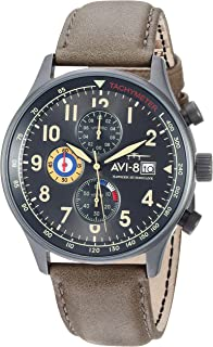 AVI-8 Men's AV-4011 Hawker Hurricane Analog Display Japanese Quartz Watch with Leather Band