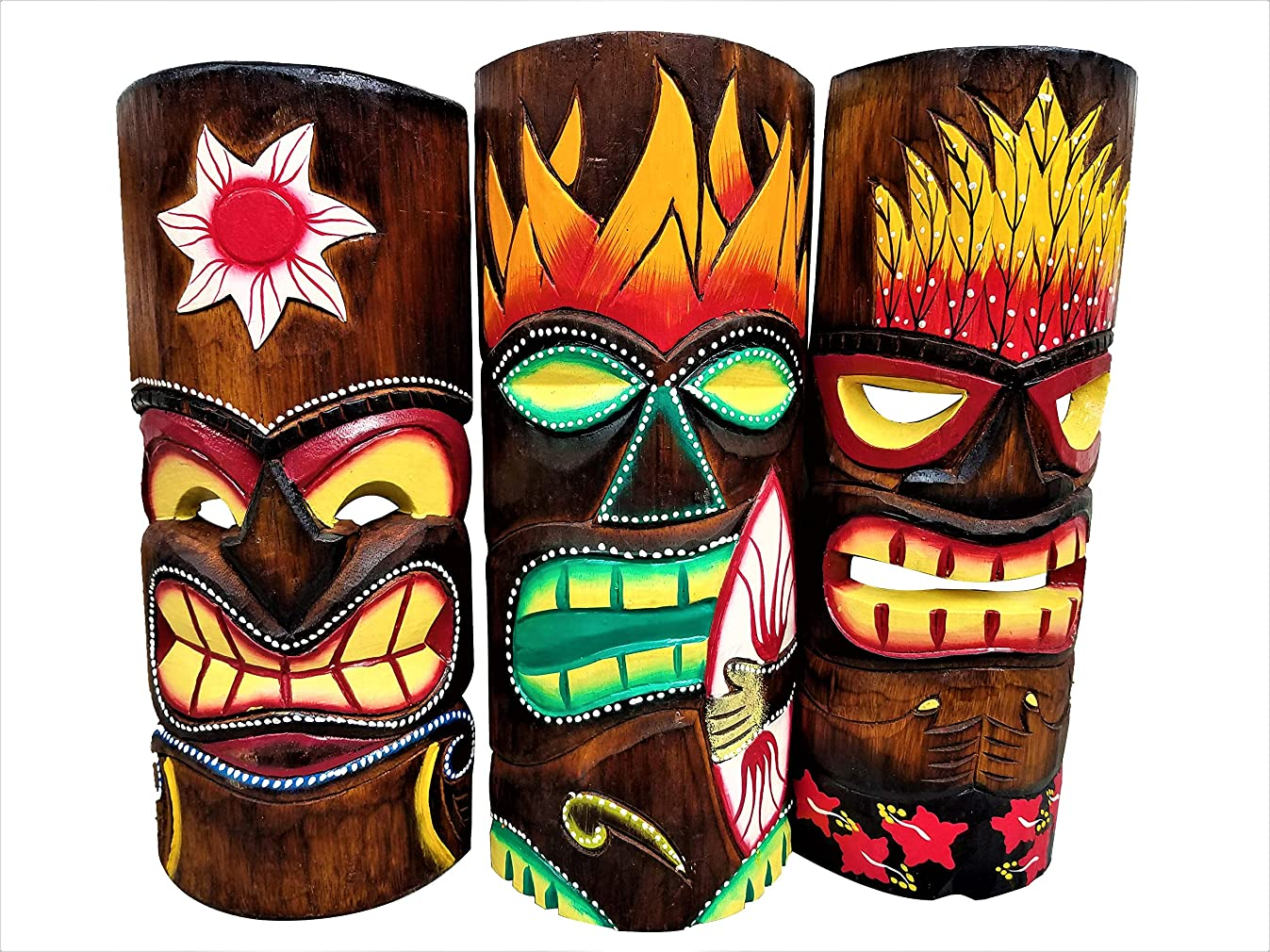 All Seas Imports Set of (3) Wooden Handcarved 12