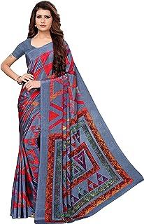 abe263bec Indira Designer Crepe Saree with Blouse Piece (Aakruti-330-1_Grey_Free Size)