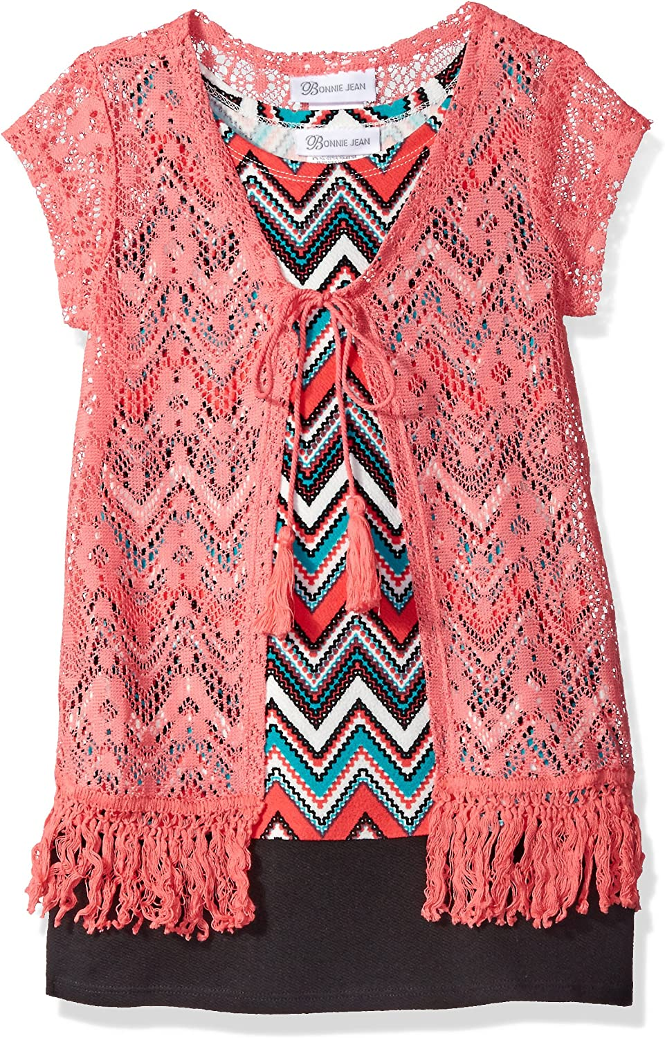 Bonnie Jean, Pink, Big Girls' Printed Textured Knit Shift Dress with Fringe Lace Vest, Coral, 10