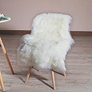 HLZHOU Faux Fur Soft Fluffy Single Sheepskin Style Rug Chair Cover Seat Pad Shaggy Area Rugs for Bedroom Sofa Floor (2x3ft, White) (2x3 Feet (60 * 90cm), White)