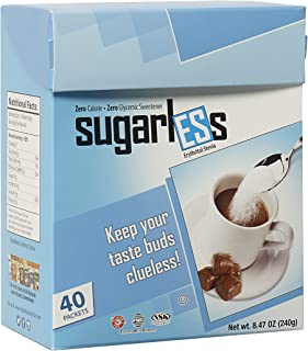 Health Garden Sugarless Erythritol and Stevia Blend Sweetener Packets - All Natural - Non GMO - Kosher- Keto Friendly (40 ...