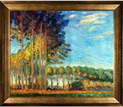 """overstockArt Poplars on The Banks of The River Epte, Seen from The Marsh with Athenian Gold Framed Oil Painting, 29"""" x 2..."""