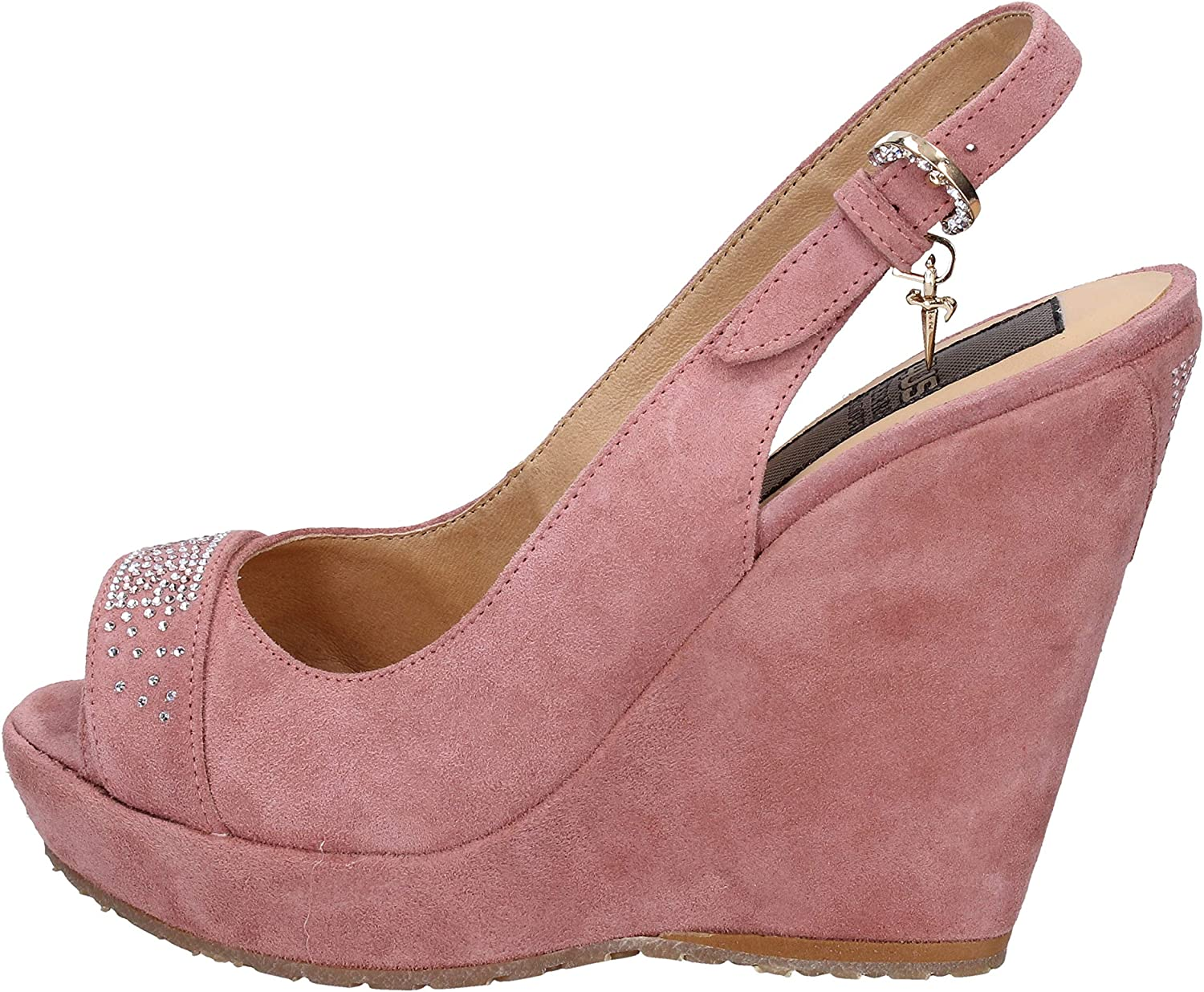 CESARE PACIOTTI 4US Wedges-Sandals Womens Suede Pink